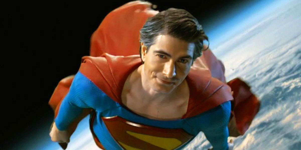 """Brandon Routh's Superman flying in """"Crisis on Infinite Earths."""""""