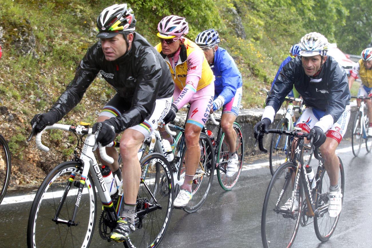 Evans, Vinkourov and Scarponi, Giro d'Italia 2010, stage 11