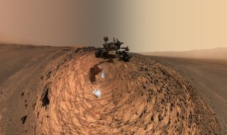 NASA's Curiosity Mars rover sits in the Marias Pass area of lower Mount Sharp.