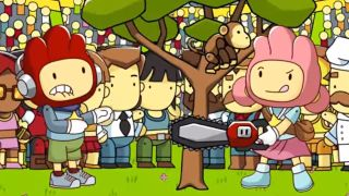 Two Scribblenauts compete with a chainsaw in Scribblenauts Showdown