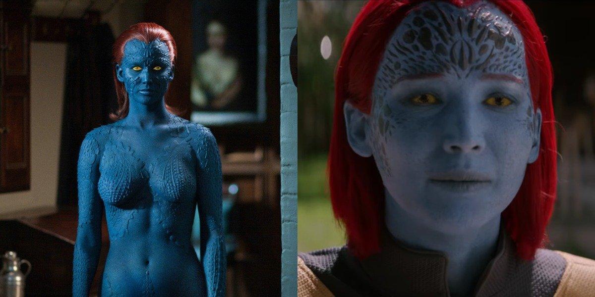 Jennifer Lawrence Mystique makeup, First Class vs Dark Phoenix