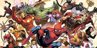 Marvel Comics art Spider-Man, Iron Man, Hulk, Thor and friends