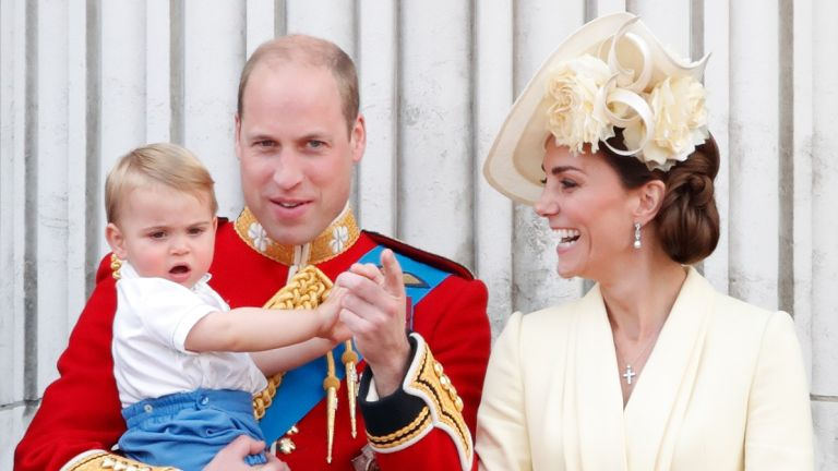 Prince William, Duke of Cambridge, Catherine, Duchess of Cambridge and Prince Louis of Cambridge stand on the balcony of Buckingham Palace during Trooping The Colour, the Queen's annual birthday parade, on June 8, 2019 in London, England