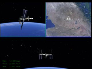 This still from a NASA simulation shows different views of how the shuttle Endeavour and International Space Station will appear on Monday, May 23, 2011, when a the crew of a Russian Soyuz capsule photographs the setup after undocking..
