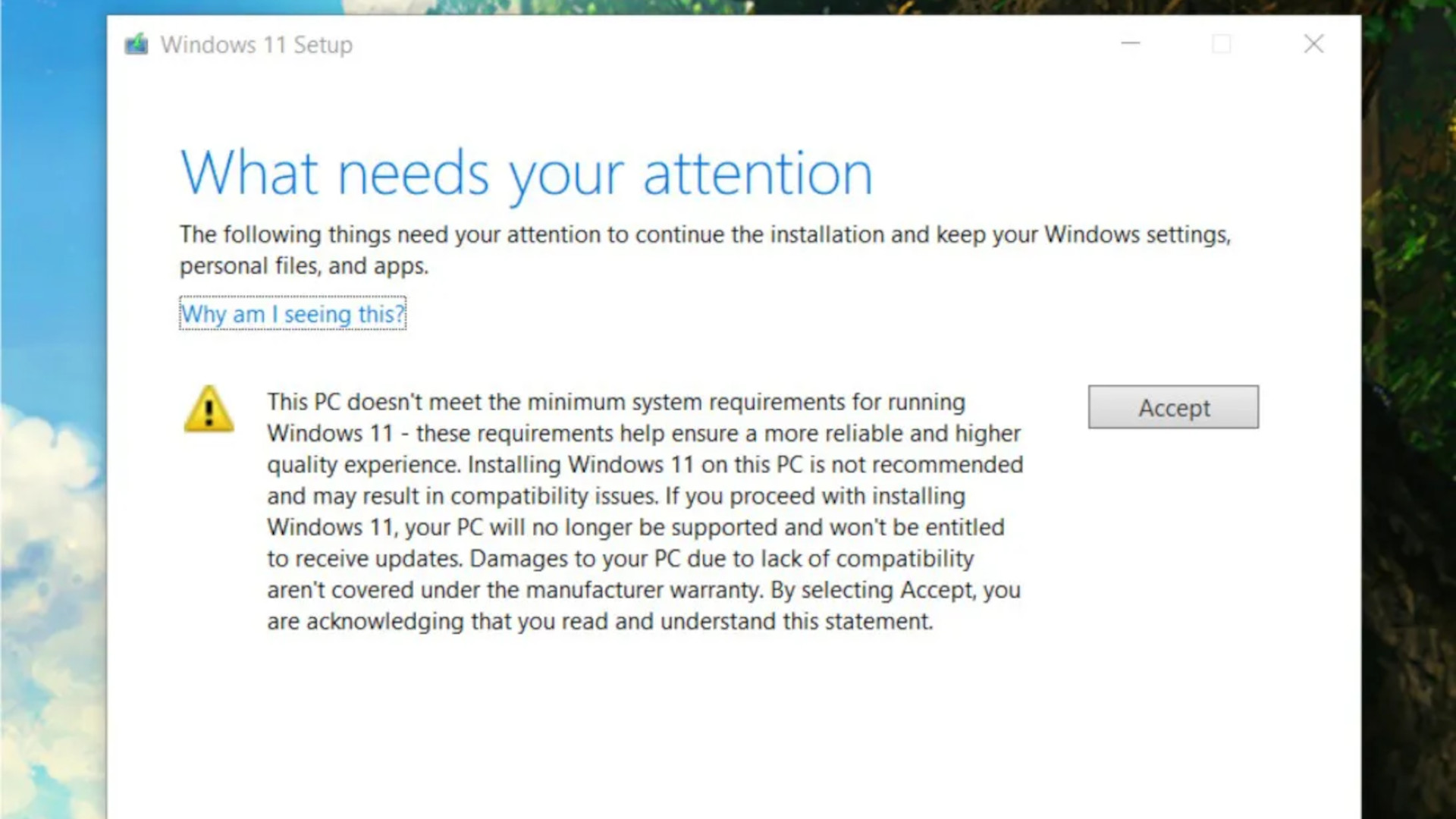 A pop up message asking Windows 11 users to sign a digital waiver to continue with installation