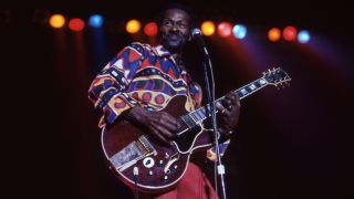 Chuck Berry (1928-2017) performs on November 23, 1981, at the Fox Theatre in Detroit, Michigan.