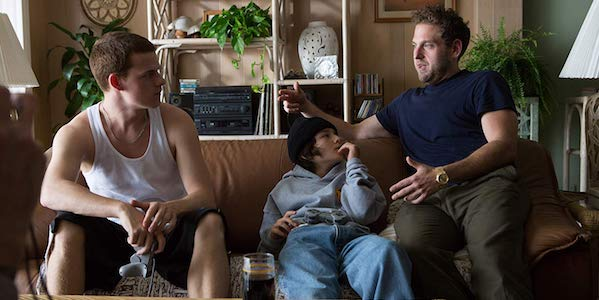 Lucas Hedges, Sunny Suljic and Jonah Hill on set of Mid90s