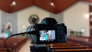 Camera streaming a live event from a house of worship