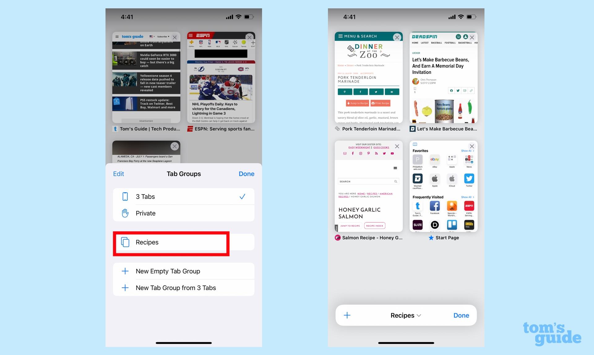 Grupos de pestañas en iOS 15 Safari