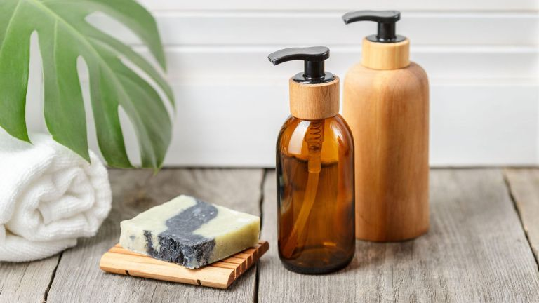 amber and wooden soap dispenser