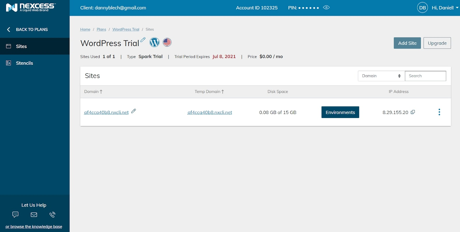 Liquid Web's WordPress installation window