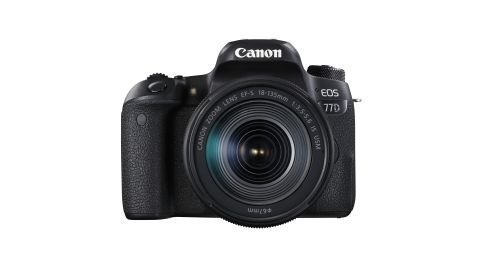 A black Canon EOS 77D camera