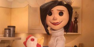 Coraline's mom, Mel Jones, with button eyes, played by Teri Hatcher