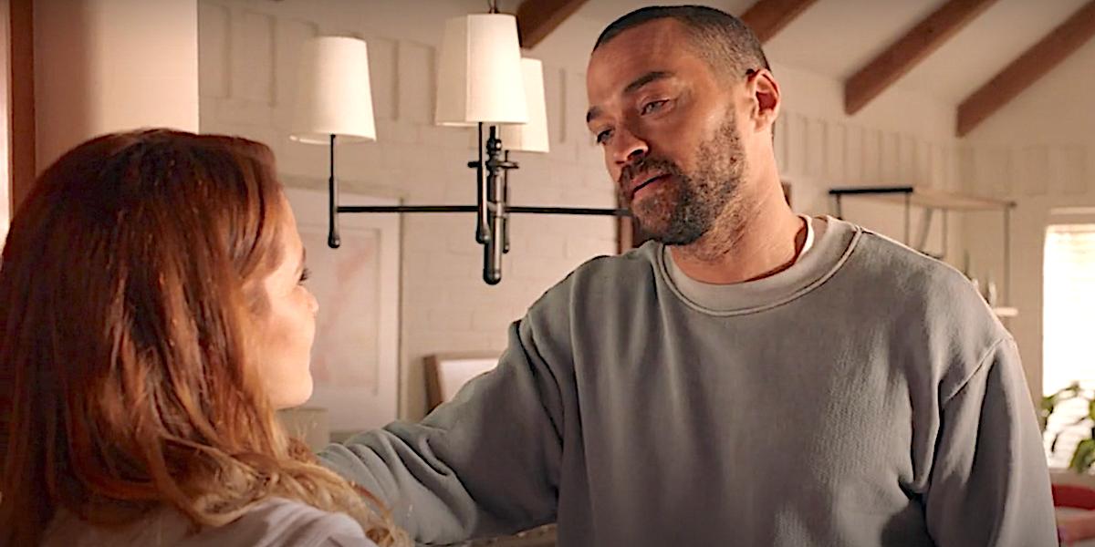 Grey's Anatomy Jackson Avery talks to Sarah Drew at her house.