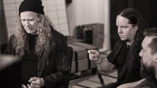 Dave Mustaine and Joey Jordison in the studio