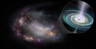 An artist's depiction of a dwarf galaxy with a massive black hole highlighted.