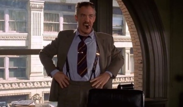 Spider-Man J. Jonah Jameson angrily clenching a cigar in his mouth