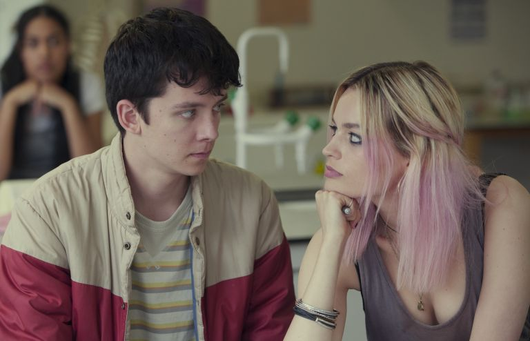 Asa Butterfield and Emma Mackey as Otis and Maeve in Sex Education Season 1