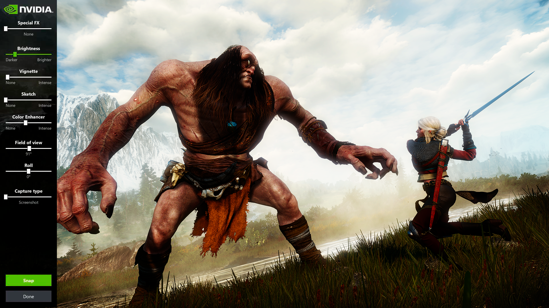 Witcher 3 captured using Nvidia's Ansel photo mode, with the controls visible