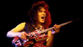 Dutch-born American Rock musician Eddie Van Halen (1955 - 2020), of the group Van Halen, performs onstage at the Aragon Ballroom, Chicago, Illinois, April 26, 1979.