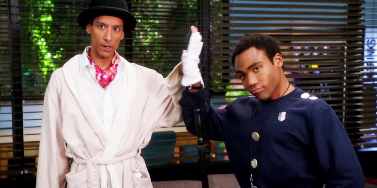 Troy and Abed cosplaying from Inspector Spacetime in Community.