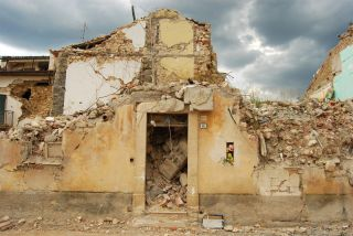 destruction from the L'Aquila earthquake in Italy