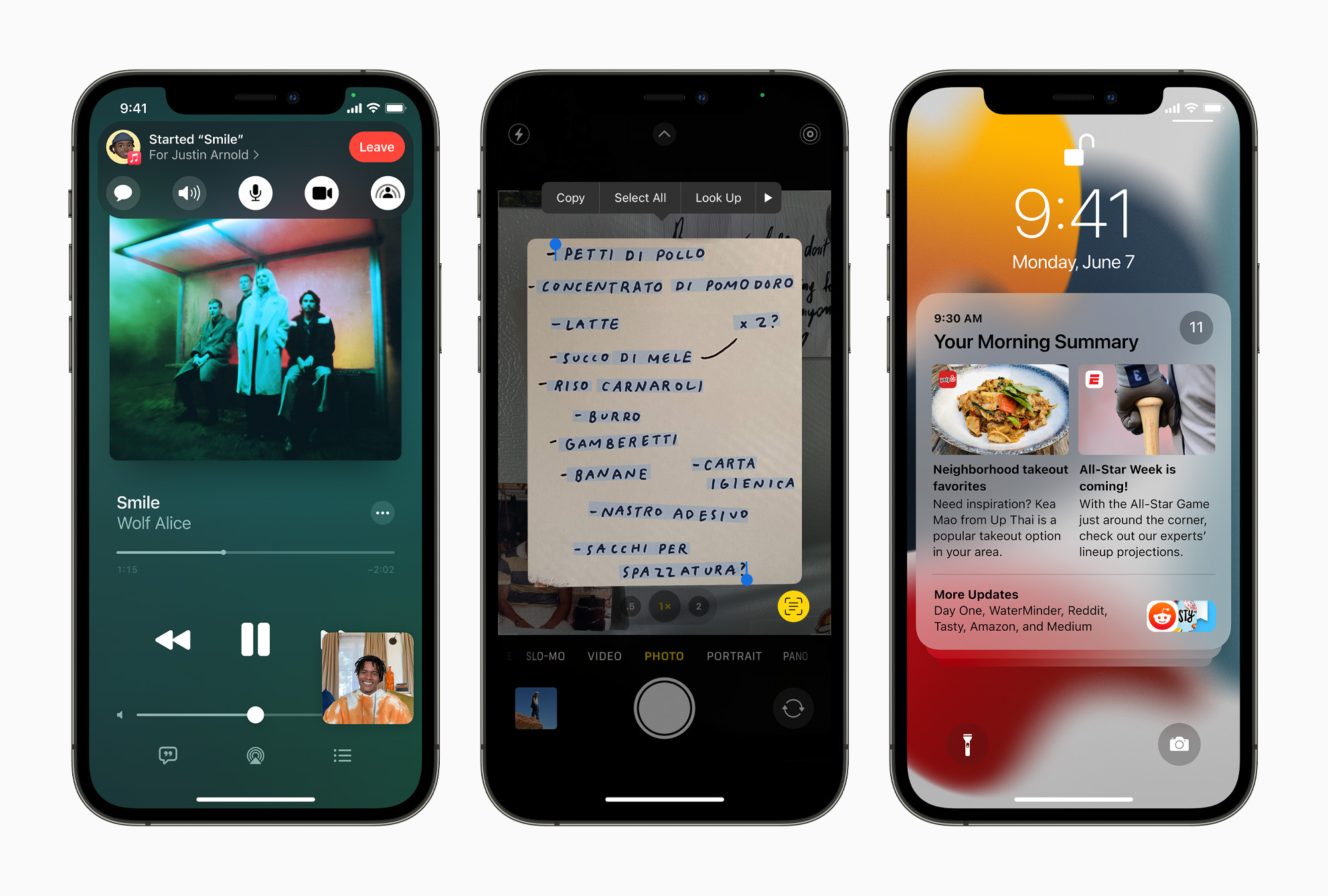Three iPhones running iOS 15