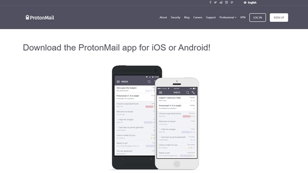 ProtonMail's smartphone app homepage