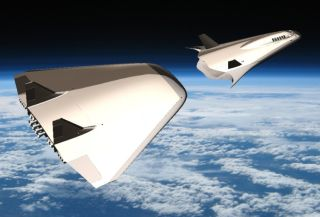 An artist's depiction of the Exodus Space Corp.'s AstroClipper space plane separating after launch.