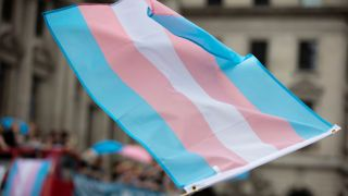 Waving a transgender flag during a gay pride march.