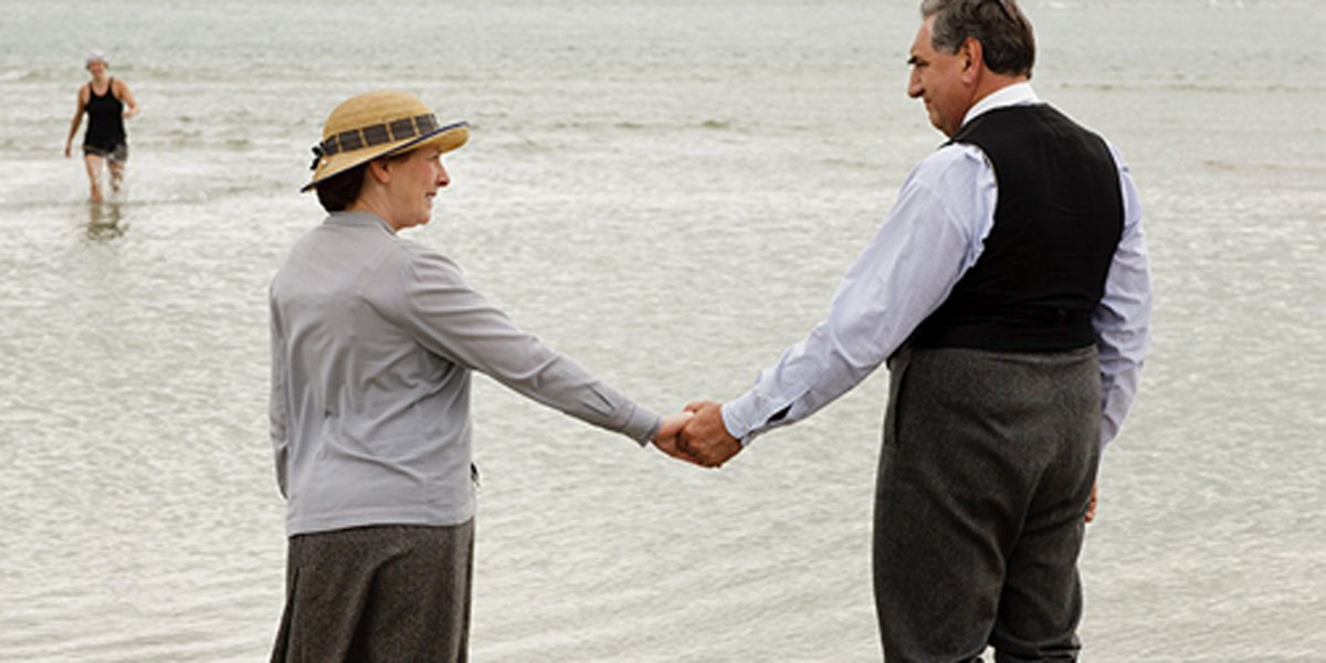 carson and mrs. hughes holding hands Downton Abbey TV series