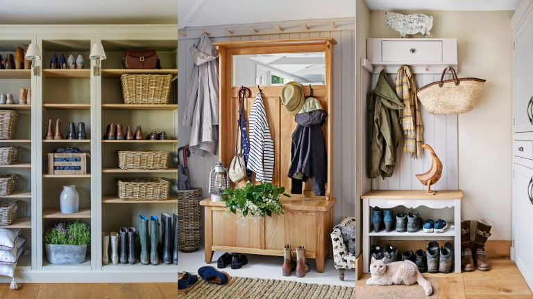 An example of mudroom storage ideas showing a selection of mudrooms with shelving, coat hooks and baskets