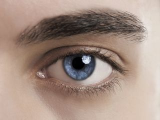A man's blue eye.