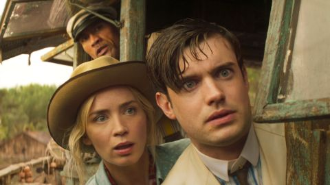 Dwayne Johnson, Emily Blunt, and Jack Whitehall in 'Jungle Cruise'.