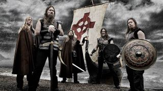 Amon Amarth with a Viking longship