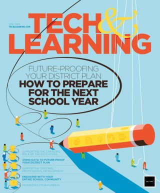 Tech & Learning June 2020 cover, with small figures directing giant pencil.