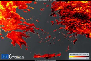EU satellite imagery shows an extreme heatwave in Greece and Turkey in early August. A new report found July 2021 to be the hottest month on Earth in recorded history.