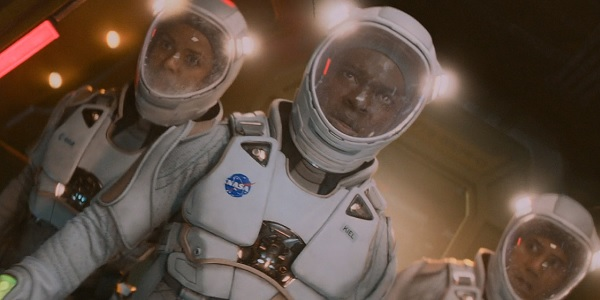 The Cloverfield Paradox Gugu Mbatha-Raw David Oyelowo John Ortiz prepared to do a space walk