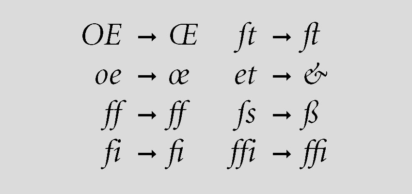 Examples of letter pairs with and without connecting ligatures