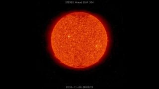 "An image from NASA's STEREO spacecraft shows an apparently quiet sun on Nov. 9, 2018, when NASA's Parker Solar Probe was studying a ""stealth"" coronal mass ejection."