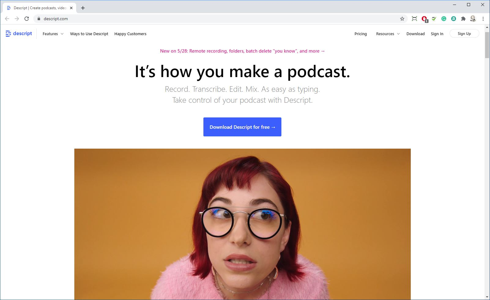 Podcast transcription with Descript