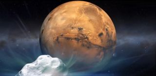 Artist's Concept of Comet Siding Spring Flying by Mars
