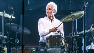 Charlie Watts performs with The Rolling Stones on 9 October 2017 in Esprit-Arena Düsseldorf