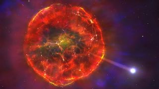 Artist's impression of a supernova ejecting a white dwarf star.