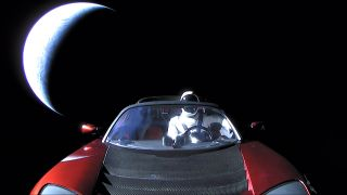 Elon Musk's Tesla Roadster and Starman cruise away from Earth in this final photo from the car after its launch on SpaceX's first Falcon Heavy rocket on Feb. 6, 2018.