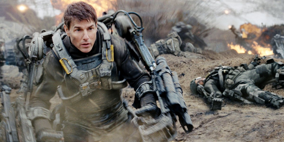 Edge of Tomorrow Tom Cruise fights his way through explosions with a mech suit