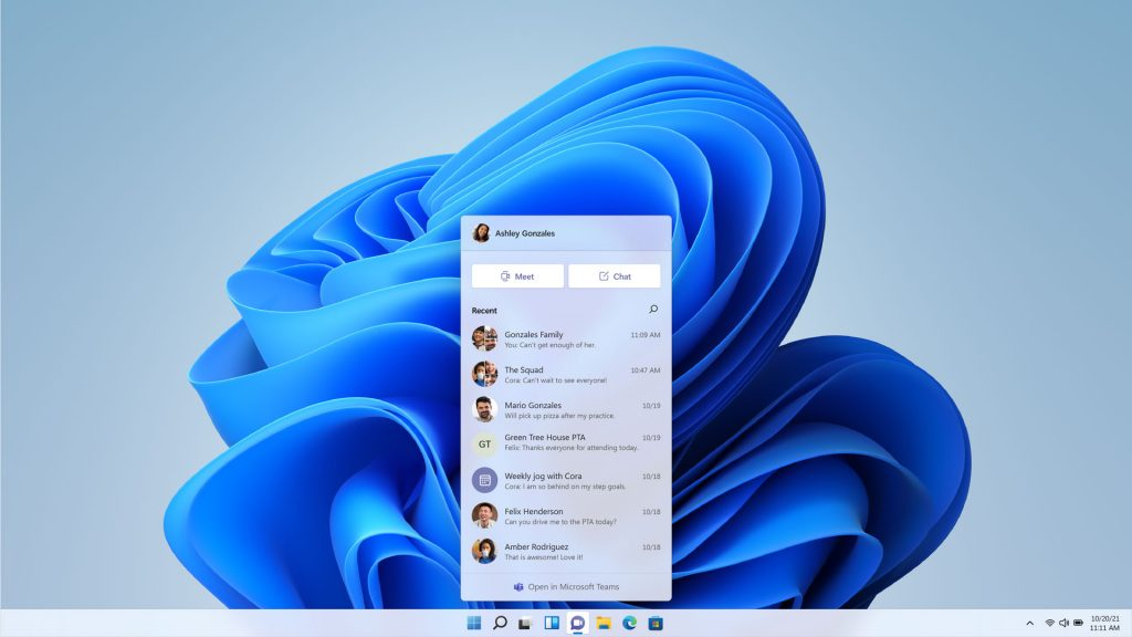 Teams integration in Windows 11