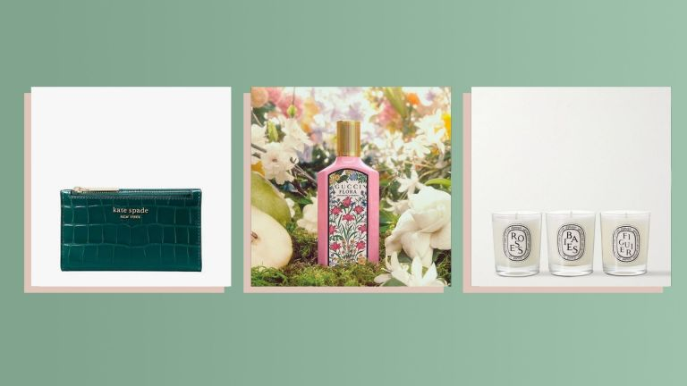 Three of the best Christmas gifts for your mom 2021 from Gucci, Kate Spade, and Diptyque shown side by side