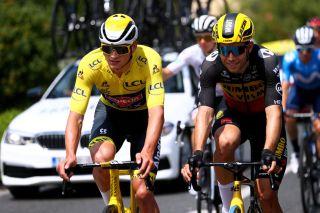 Wout van Aert with race leader Mathieu van der Poel during stage 6 of the Tour de France