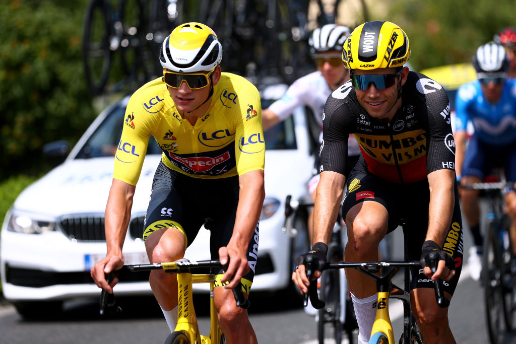 CHATEAUROUX FRANCE JULY 01 Mathieu Van Der Poel of The Netherlands and Team AlpecinFenix Yellow Leader Jersey Wout Van Aert of Belgium and Team JumboVisma during the 108th Tour de France 2021 Stage 6 a 1606km stage from Tours to Chteauroux LeTour TDF2021 on July 01 2021 in Chateauroux France Photo by Michael SteeleGetty Images